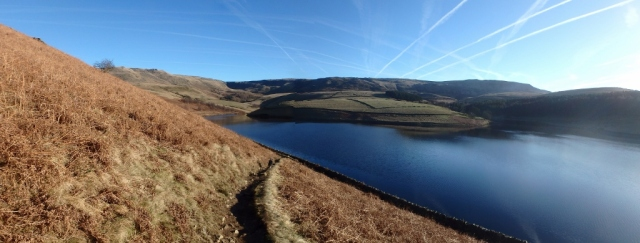 Kinder Reservoir with Kinder Scout in the distance