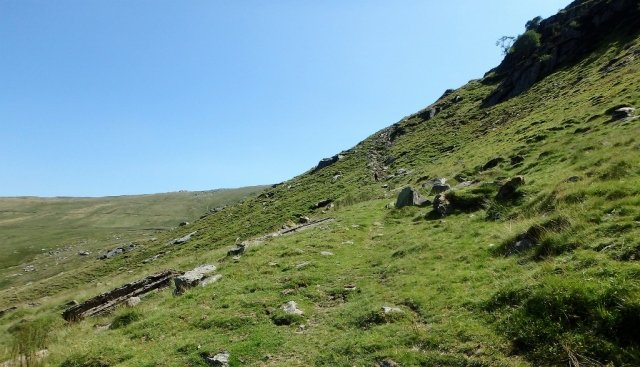 Heading up towards Melynllyn (the path can be made out just right of centre)