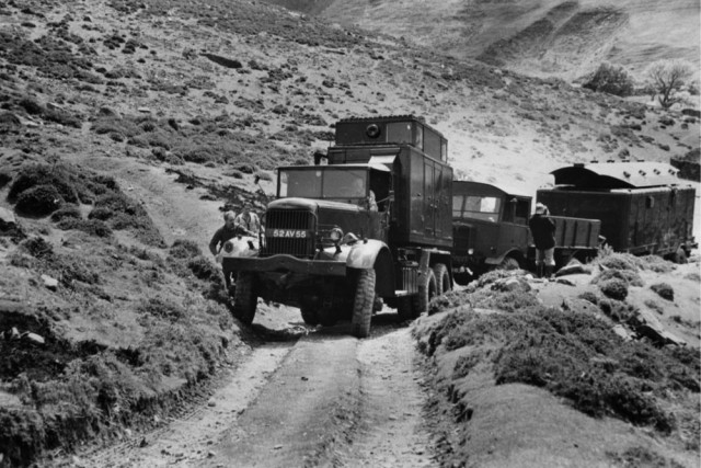 'Diamond T' truck carrying the domestic unit and towing the Matador and one of the radar cabins